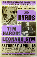 The Byrds and Tim Hardin at Leonard Gym at American University poster