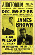 "James Brown, Jackie Wilson, Al Green, etc America's first ""Soul Bowl"" concert poster"