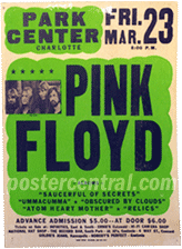 Pink Floyd at the Park Center in Charlotte concert poster