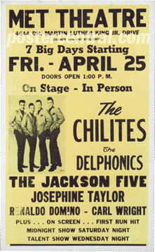 the Chilites, the Delfonics, the Jackson Five concert poster
