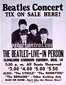 Beatles concert tix on sale here poster