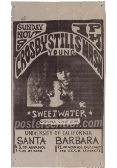 Crosby Still Nash Young at UCSB handbill