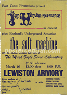 Jimi Hendrix experience and the soft machine poster