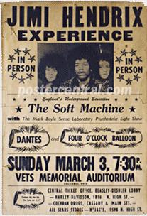 Jimi Hendrix Experience Cream Vintage Concert Posters