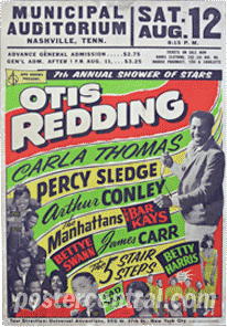 Otis Redding concert poster Municipal Auditorium in Nashville