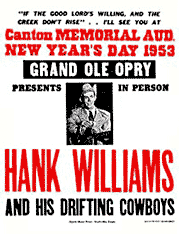 Hank Williams at the Grand Ole Opry bootleg poster