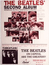 the Beatles' second album promo poster